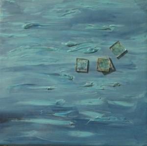 Kék 24x24 vászon, olaj, üveg