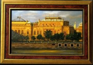 Prágai Operaház 25x40 fa, olaj , kiállításról