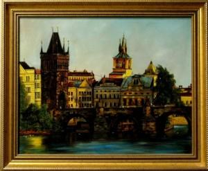 Prágai Tűztorony  40x50 fa, olaj , kiállításról