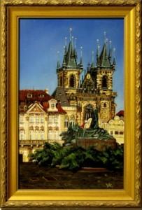 Prágai Tyn templom 25x40 fa, olaj